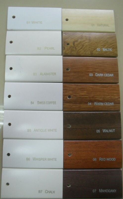 Standard Colours for Timber Plantation Shutters